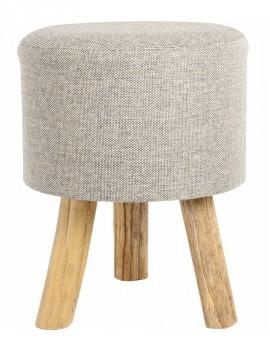 Dřevěná stolička s hnědým čalouněním