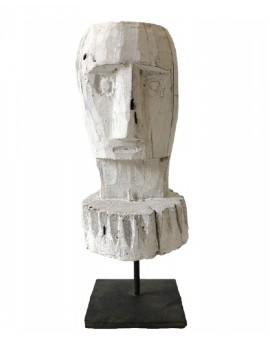 Dřevěná bílá hlava muže