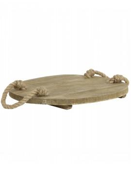 Dřevěný kulatý tác s uchy z motouzu Gruyere L