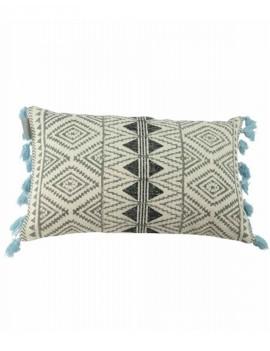 Bavlněný modrý polštář s třásněmi