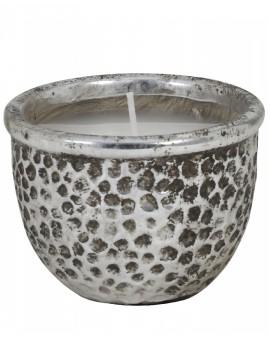 Keramický stříbrný svícen se svíčkou Caneja